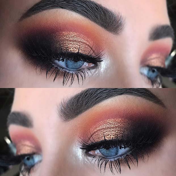 Bronze Eyeshadow Look for Blue Eyes