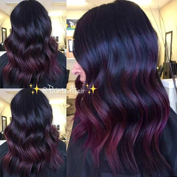 Burgundy Highlights on Black Hair