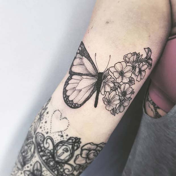 Butterfly Tattoo with a Floral Wing