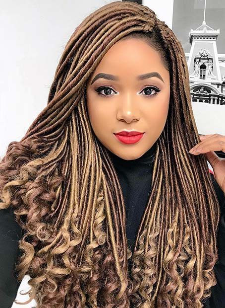Chic Light Brown Faux Locs