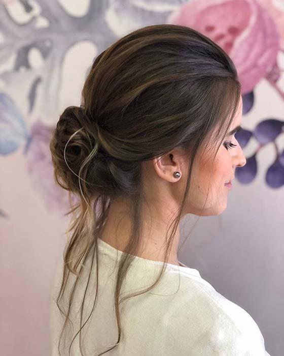 Beautiful Low Bun with Loose Hair