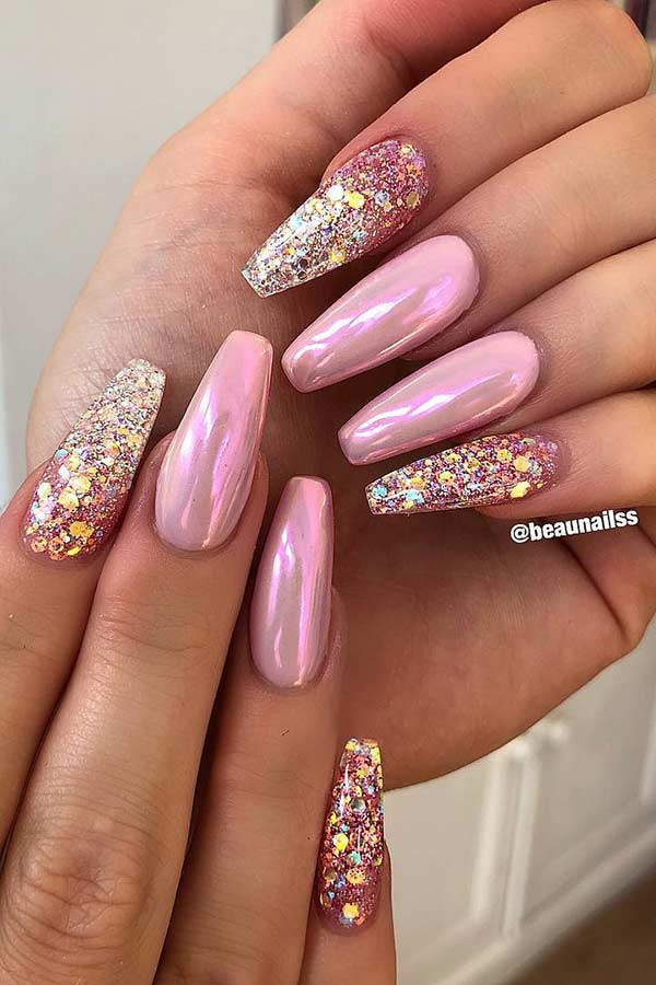 Chrome and Glitter Coffin Nails