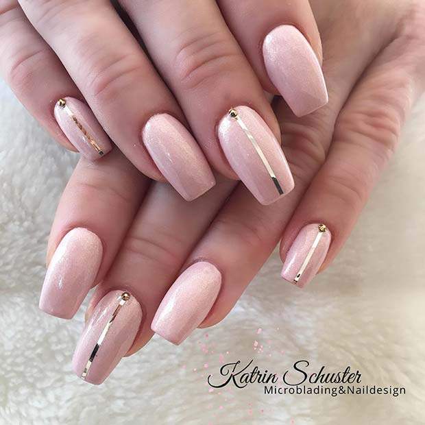 Nude Nails with Gold Stripe Design