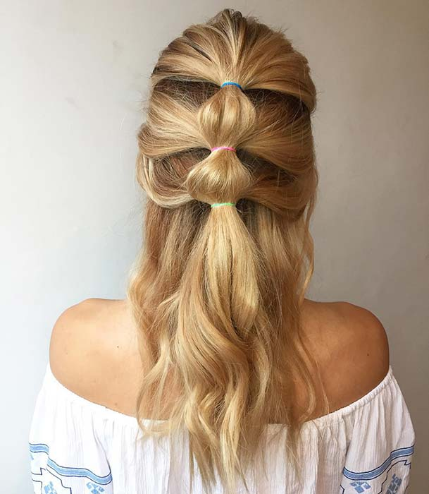Colorful Half Up Hairstyle