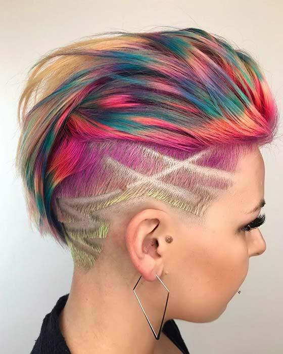 Colorful Undercut Idea