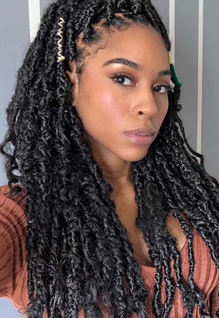 Curly Locs with Stylish Accessories