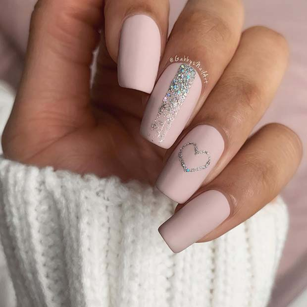 Cute Matte Nails with a Heart Design