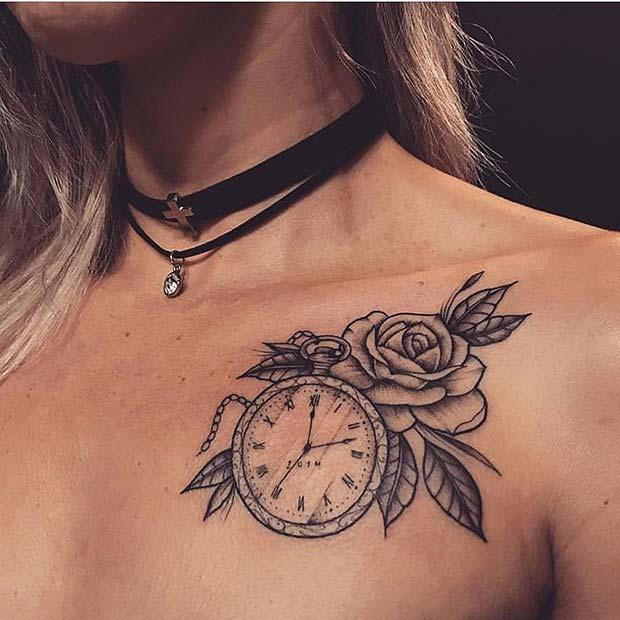 Cute Pocket Watch and Flower Tattoo Idea