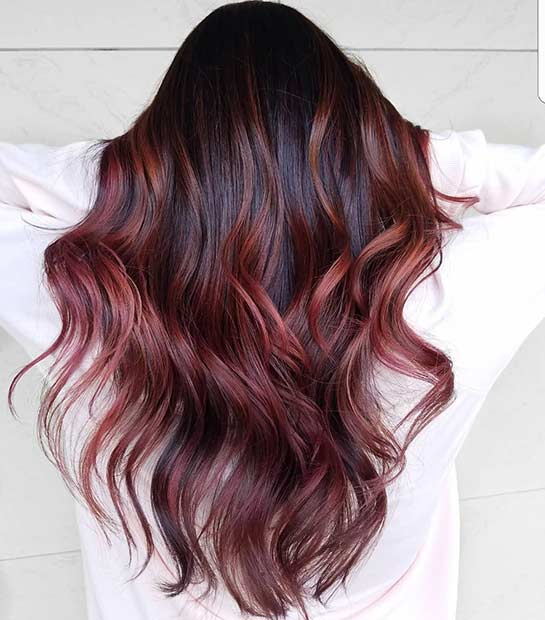 Dark Hair with Light Red Highlights
