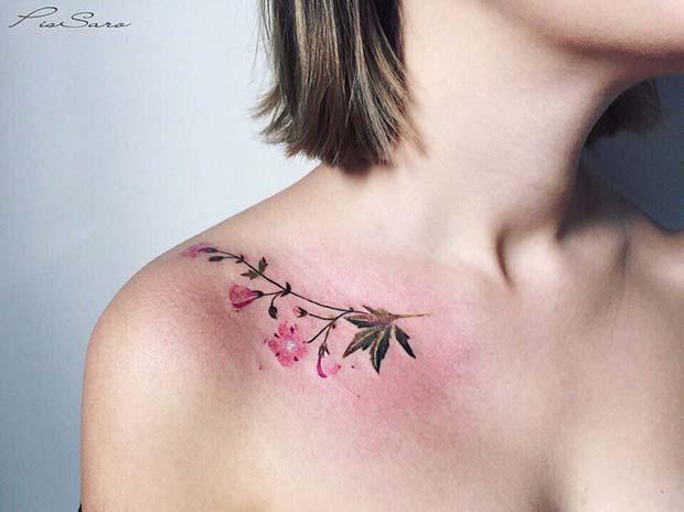 Delicate Watercolor Flower Tattoo