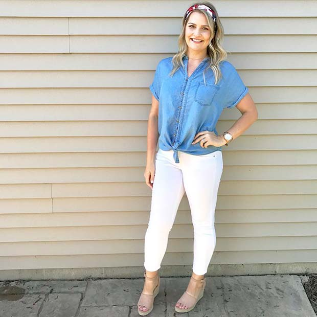 Denim Shirt, White Pants and Cute Headband