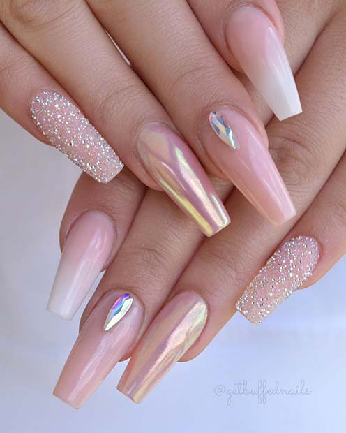 Elegant Nails with Sparkle and Chrome