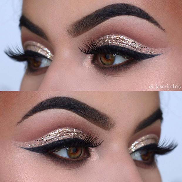 Sparkly Eye Makeup Idea for Brown Eyes