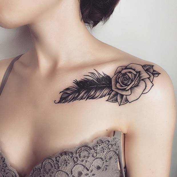 Feather and Rose Tattoo Design