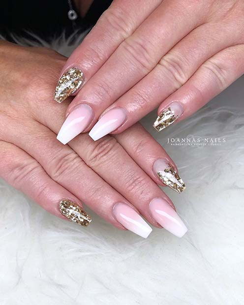 French Fade and Glitter Nails