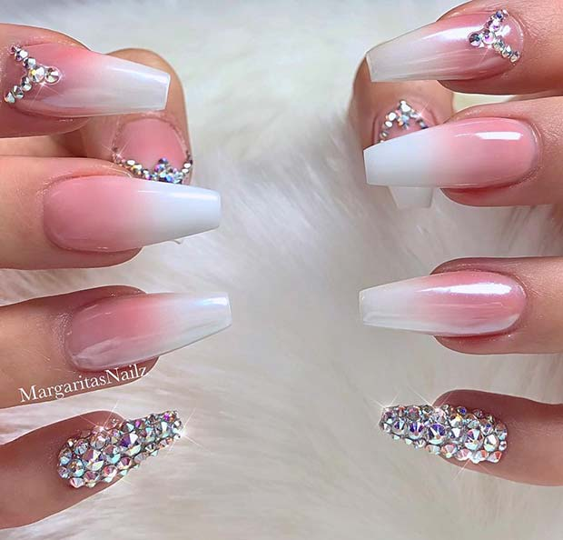 French Ombre Nails with Crystals