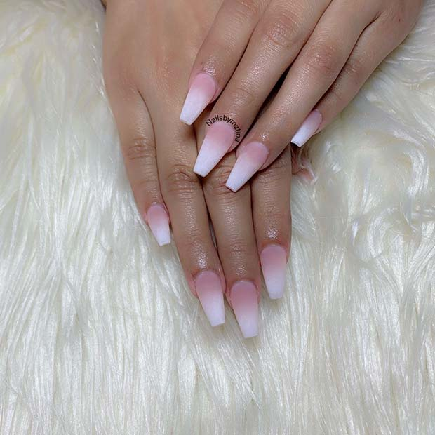 Frosted French Ombre Nails