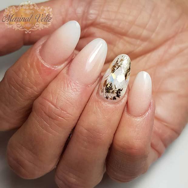 Glam Gold Foil Nail Idea