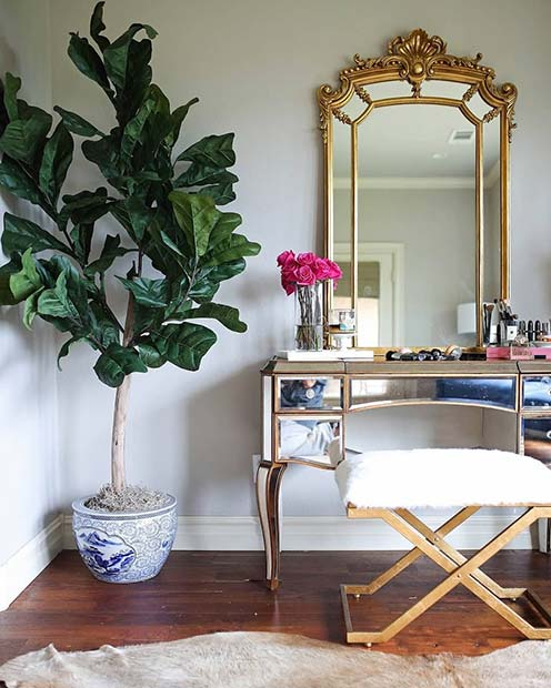 Glam Gold Vanity Table with Green Plant