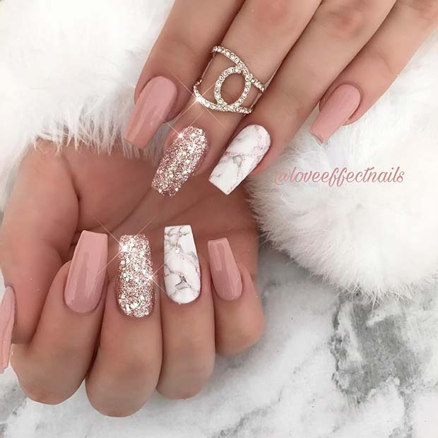 Glam Nude and Marble Nail Idea