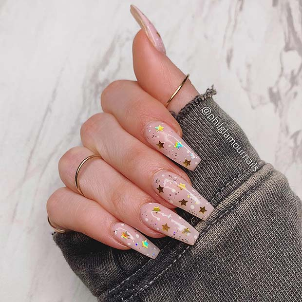Gold Star Coffin Nails