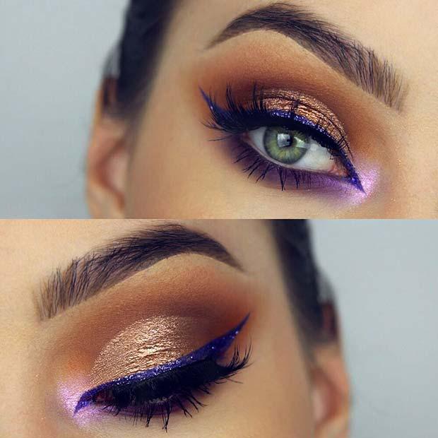 Gold and Purple Eyeshadow Look