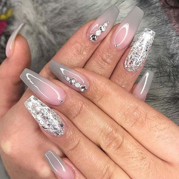 Grey Ombre Nail Design