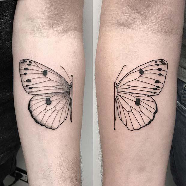 Matching Half Butterfly Tattoo Design