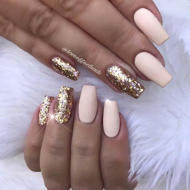 Matte Light Nails and Gold Glitter