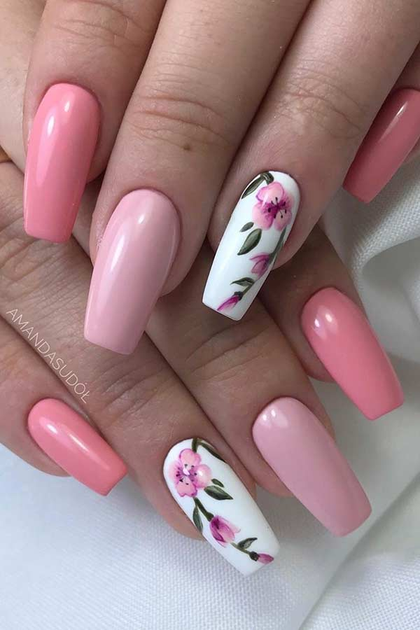 Light Pink Nails with Flowers