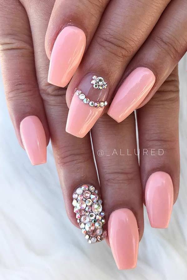 Light Pink Nails with Rhinestones