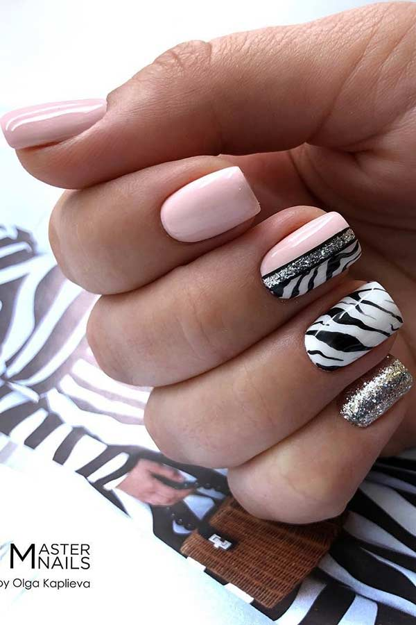 Light Pink and Zebra Nails