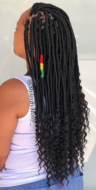 Stylish Long Locs with Curls