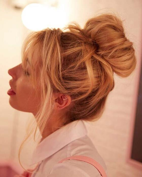 Messy Bun with a Vintage Vibe