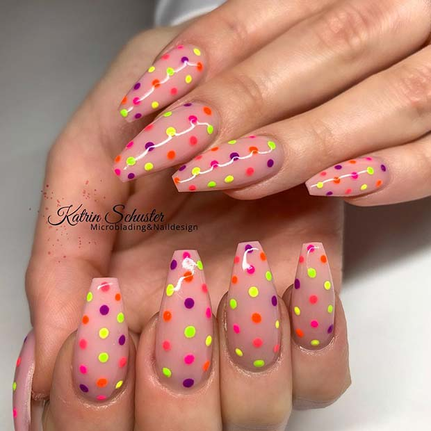 Nude Nails with Colorful Polka Dots
