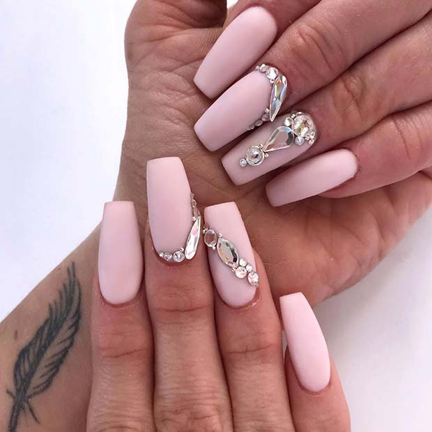 Nude Nails with Crystal Accent Nails