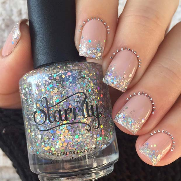 Nude Nails with Sparkly Silver Tips