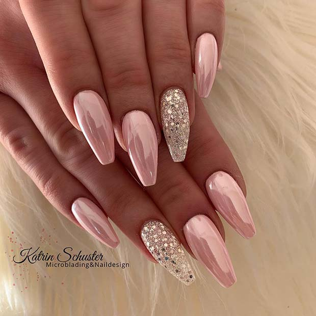 Pink Chrome and Silver Glitter Nails