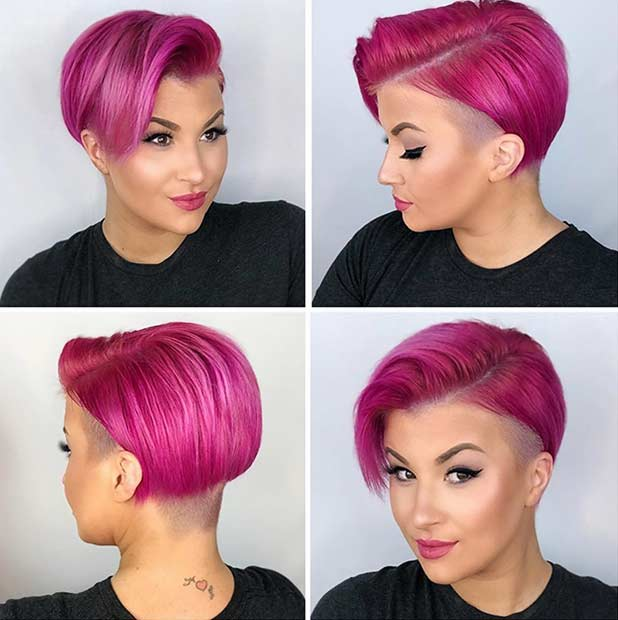 Pink Short Haircut with an Undercut