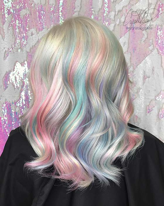 Platinum Blonde and Pastel Rainbow Highlights