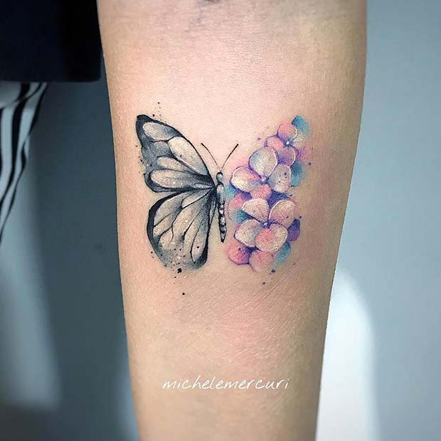 Bright Floral Butterfly Tattoo
