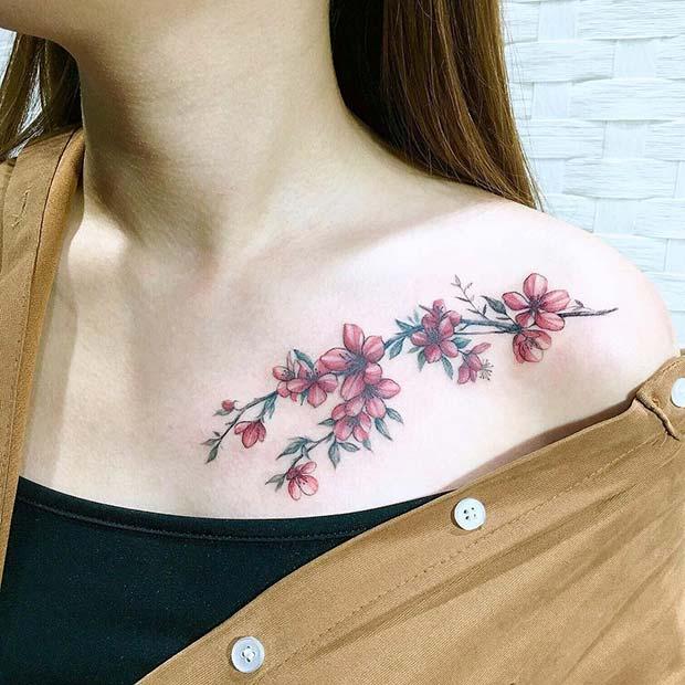 Pretty Floral Collar Bone Design