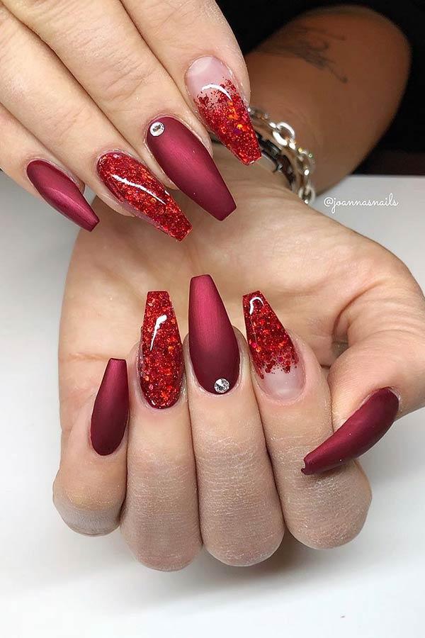 Pretty Matte Red Coffin Nails