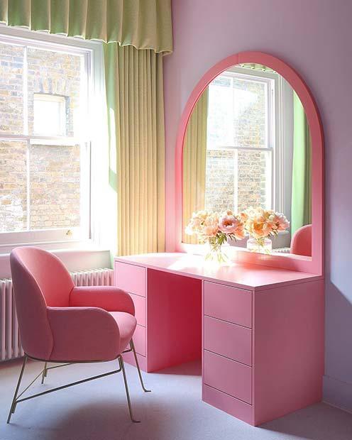 Modern Pink Vanity Table