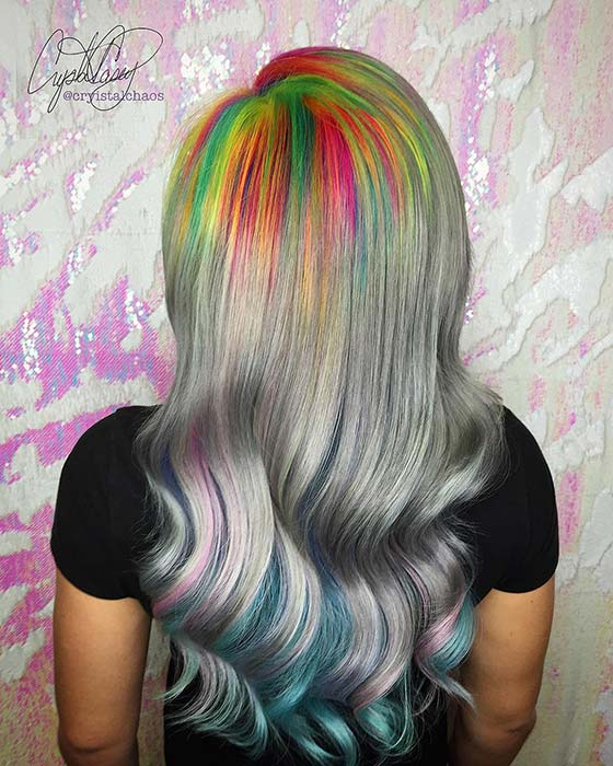 Rainbow Roots Hair Color Idea