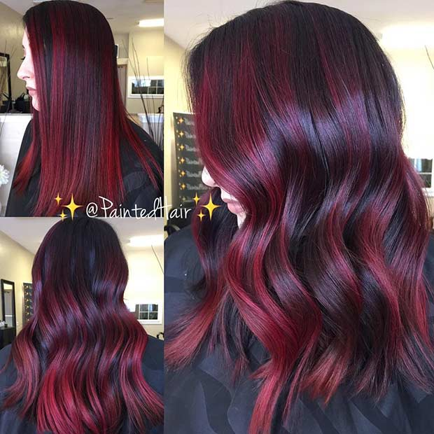 Red Highlights on Dark Brunette Hair
