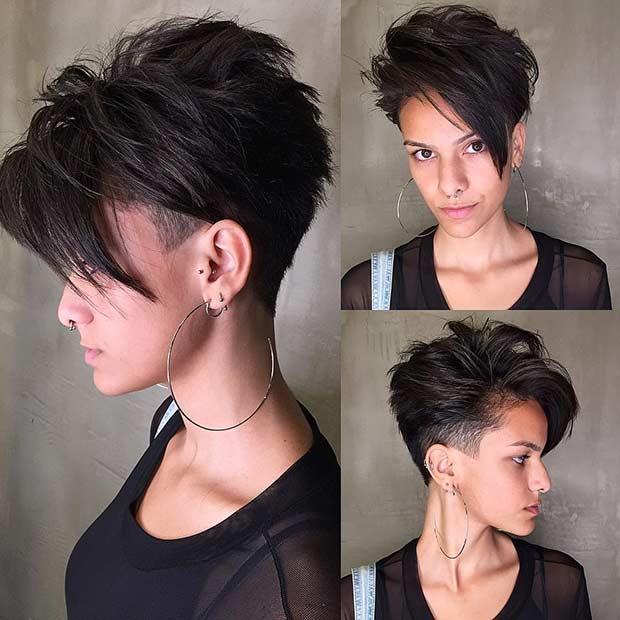 Short Haircut with Undercut and Long Bangs