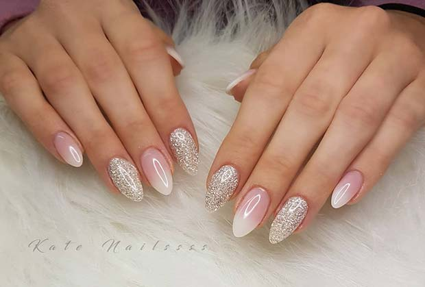 Silver Glitter and French Fade Nails