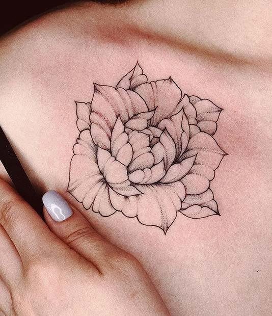Single Peony Flower Tattoo