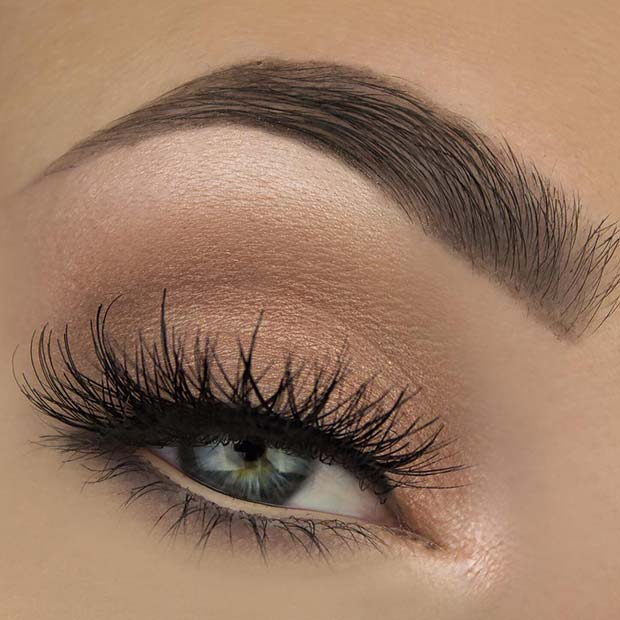 Soft Brown Eyeshadow and False Lashes
